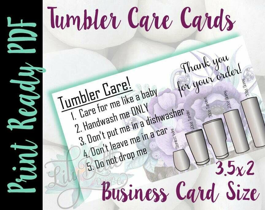 Tumbler Care Business Cards - Purple Bouquet Background