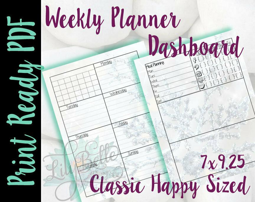 Weekly Planner PDF - Snowflake Background