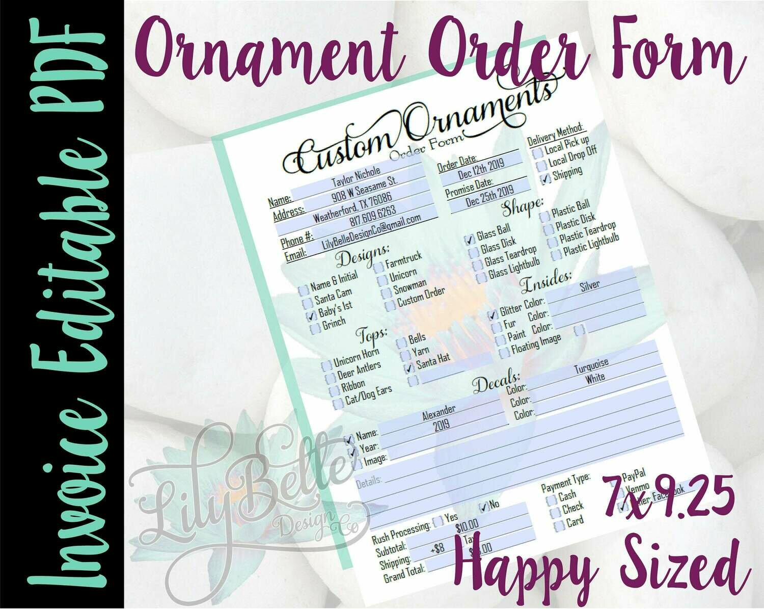 Ornament Invoice Editable Order Form Happy Planner sized in PDF