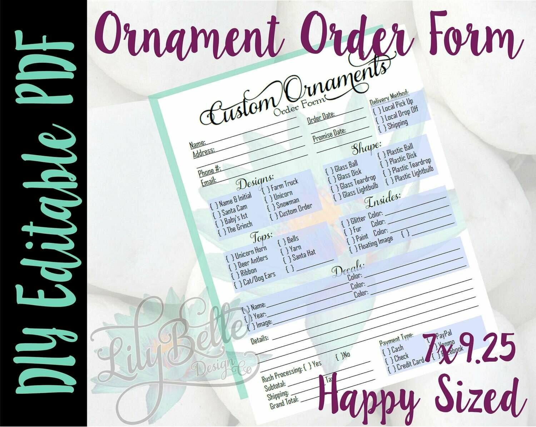 Ornament DIY Editable Order Form PDF