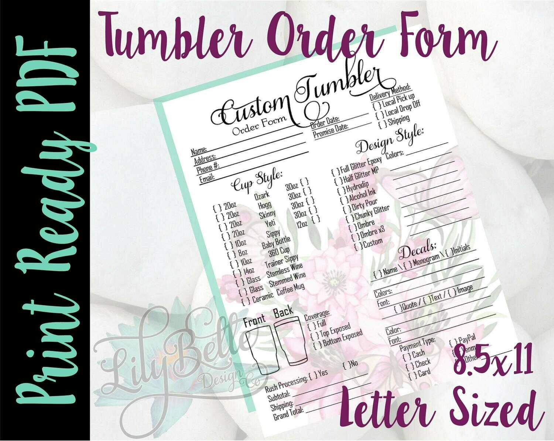 Tumbler Order Form PDF - Pink Butterflies