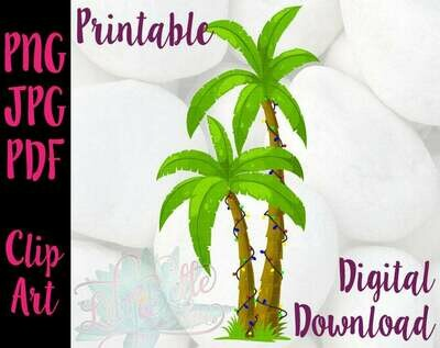 Christmas Palm Tree with Lights Printable PNG Clipart