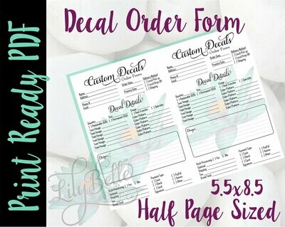 Decal Order Form for Junior Planners,  Half Letter Sized 8.5x5.5 in PDF