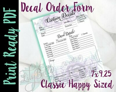 Decal Order Form PDF -Purple Top and Bottom Bouquets