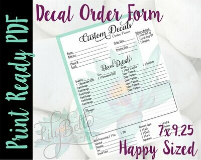 Decal Order Form for those Classic Happy Planners in PDF