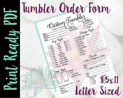 Tumbler Print Ready Order Form Letter Size Pink Waterlily background in PDF