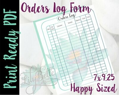 Order Log Tracker PDF perfectly sized for those Classic Happy Planners