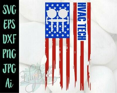 HVAC Tech American Distressed Flag SVG
