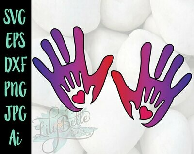 Mom and baby handprints with offset! SVG