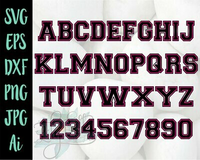 Varsity Lettering & Numbers Cricut SVG
