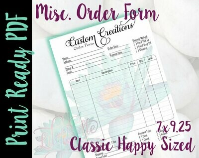 Misc. General Order Form for Classic Happy Planners in PDF