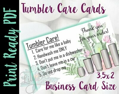 Tumbler Care Business Cards - Cactus Background