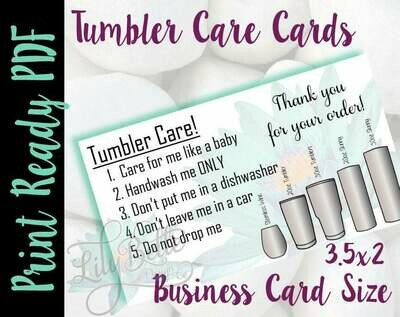 Tumbler Care Business Cards - Teal Waterlily Background
