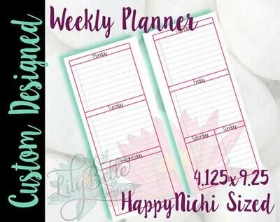 Weekly Planner PDF -  Pink Waterlily Background