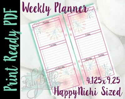 Weekly Planner PDF - Pink Floral Bouquet on top & bottom