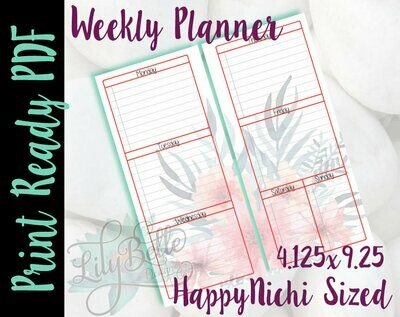 Weekly Planner PDF - Pink Red Floral Background