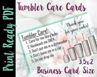 Tumbler Care Business Cards - Pink Bouquet Background