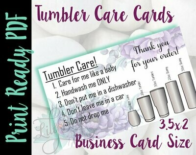 Tumbler Care Business Cards - Purple Top & Bottom Background