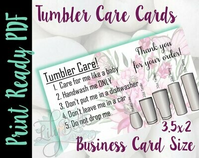 Tumbler Care Business Cards - Pink Butterflies Background