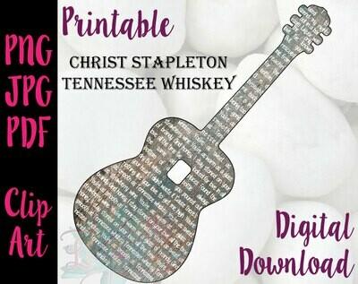Chris Stapleton - Tennessee Whiskey Lyrics in a guitar shape