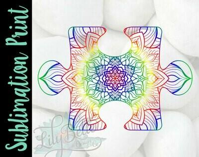 Puzzle Piece Mandala Sublimation Print