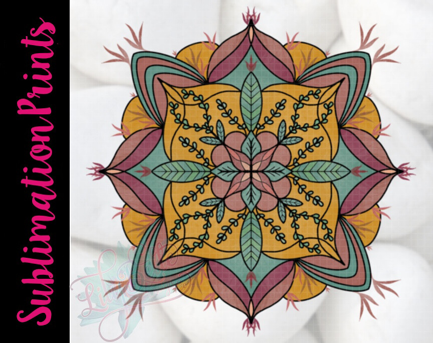 Fall Leaves Mandala Sublimation Print