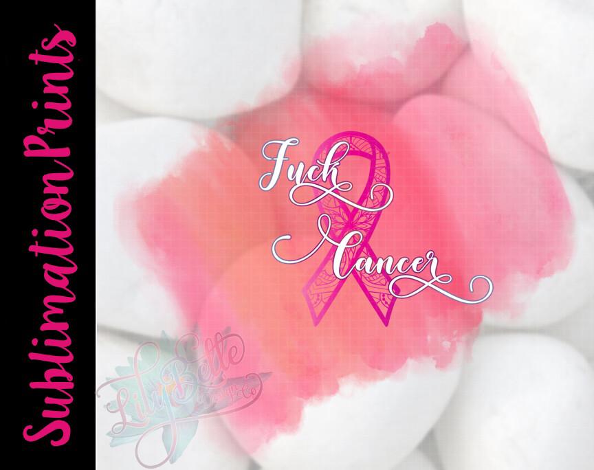 Fuck Cancer Watercolor Mandala Sublimation Print - Breast Cancer