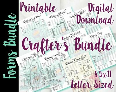 Crafter's Order Form Bundle Print Ready Order Forms in PDF & JPG