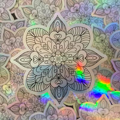 Heart Manadala Holo Sticker