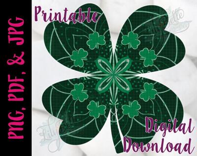 Four Leaf Clover Mandala PNG