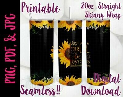 Sunflower Girl 20oz Tumbler Wrap
