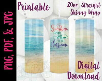 Sunshine Hurricane Beach 20oz Tumbler Wrap