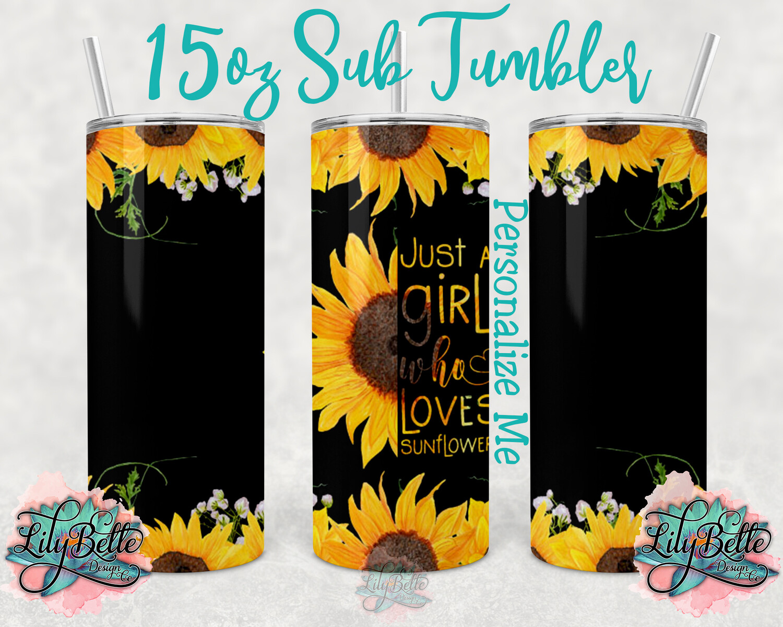 Sunflower Girl 15oz Tumbler Wrap