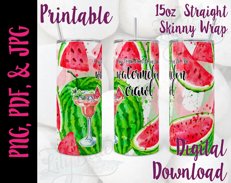 Watermelon Crawl 15oz Tumbler Wrap