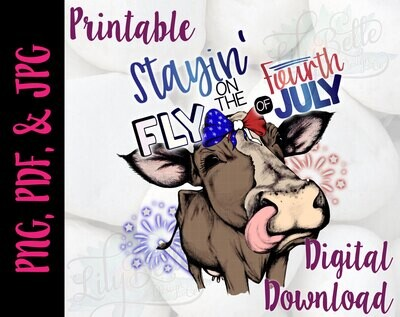 Staying Fly on the Fourth of July - Cow PNG