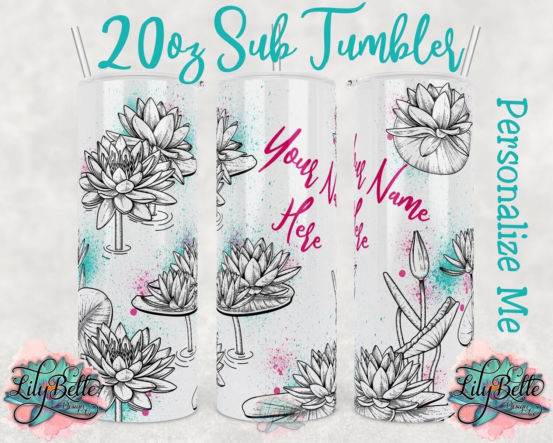 Waterlily with Watercolor Splash Line Art 20oz Sublimation Tumbler