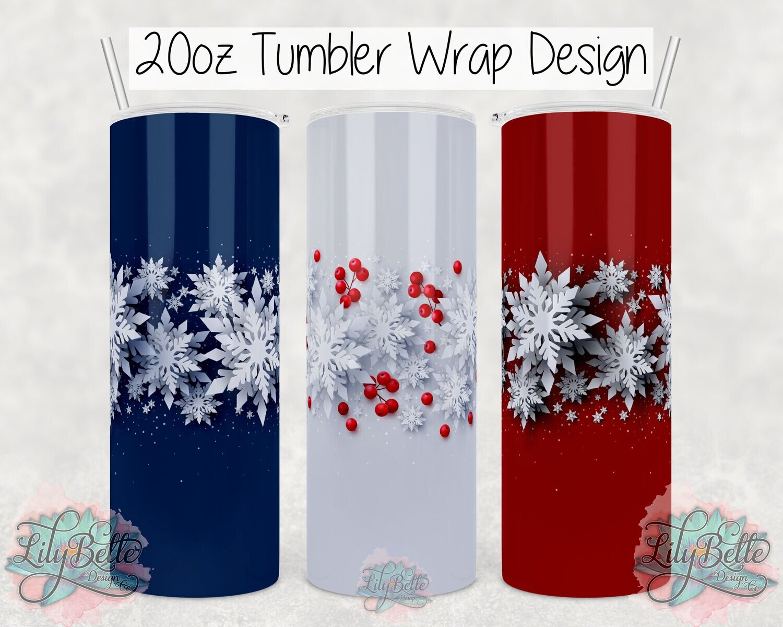 Red White and Blue Snowflake Bundle 20oz Tumbler Sublimation Wrap Digital Design
