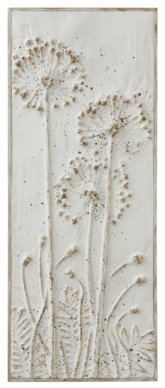 Metal Wall Embossed Flowers Distressed White Finish