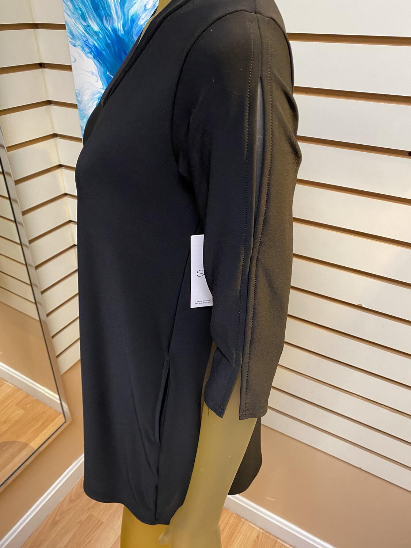 Major Deal! Sympli Shift Tunic 3/4 Sleeve Black Slit Sleeve Openings.