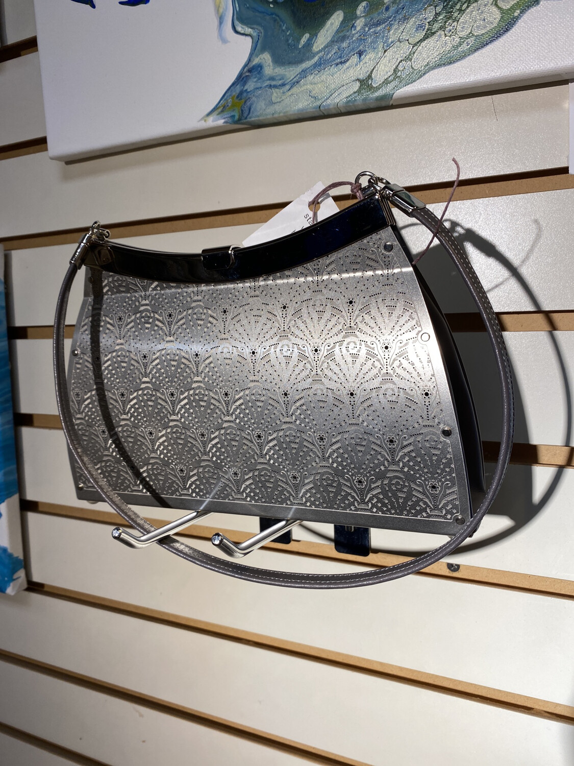 Wendy Fern Shoulder Or Clutch Metal And Italian Leather Bag