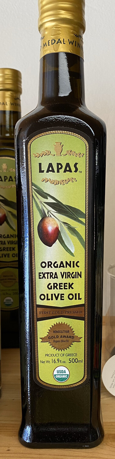 Lapas Organic Extra Virgin Olive Oil. Made Solely Of Koroneiki Olives. The Queen Of Olives.