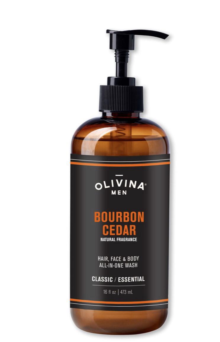 Olivina Hair Face And Body Wash Bourbon Cedar