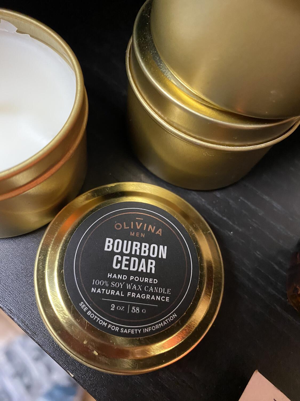 Olivina Bourbon Cedar Travel Candle Tin Soy      2 oz