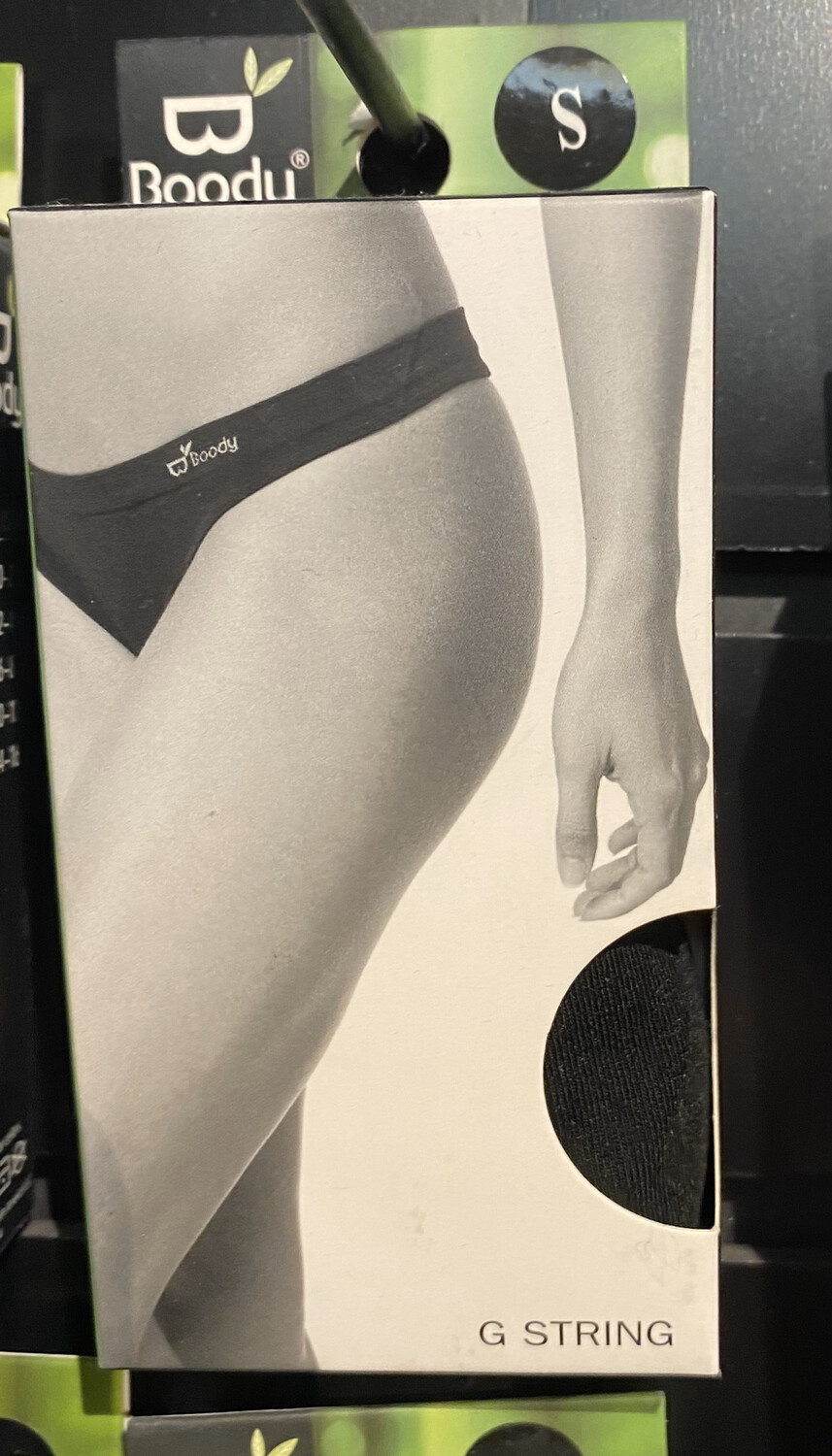 Woman's Bamboo Black G String Tap For Sizes