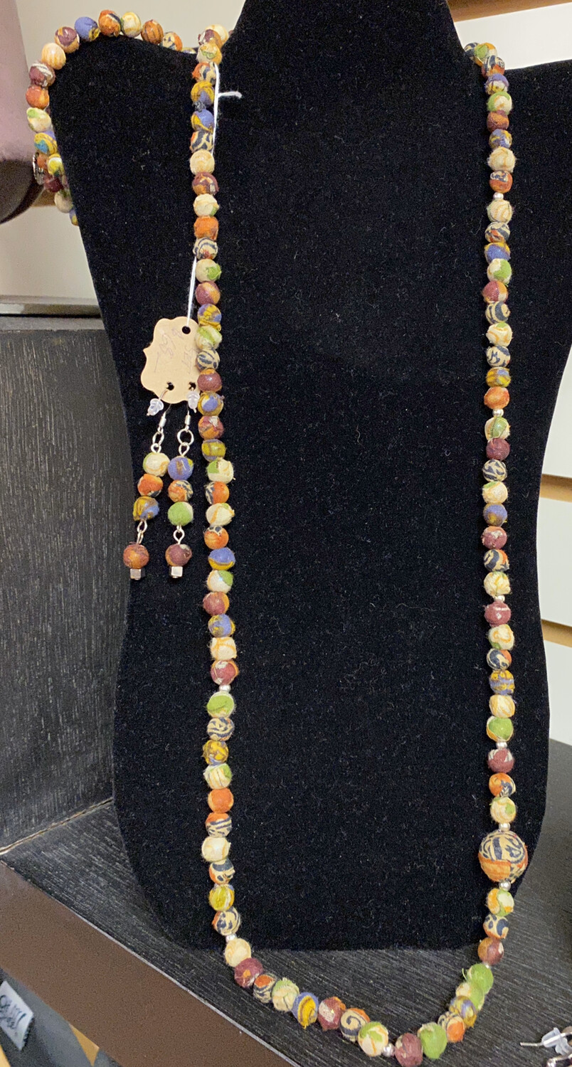Ask Alice Hand Wrapped Cloth Beads 3 Piece Set Wrap Bracelet, Earrings, Long Necklace