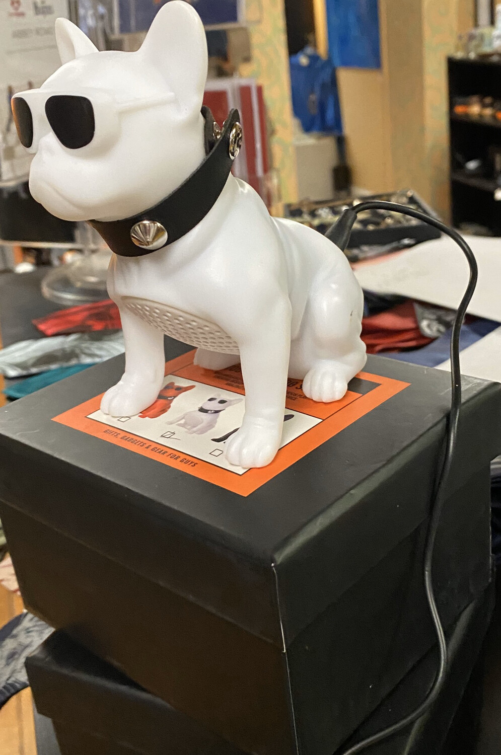 White Cool Dog Speaker And Phone Charger Barks When You Turn On
