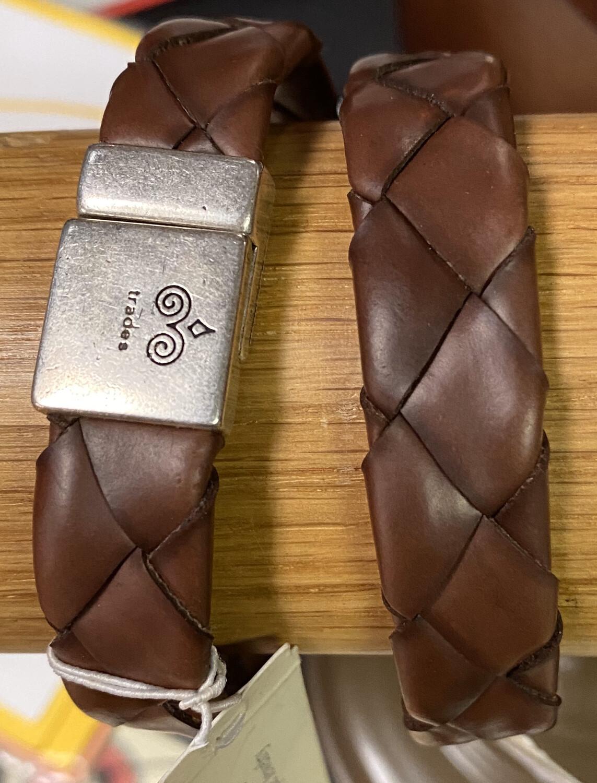 Men's Leather & Bar Charm Bracelet Brown