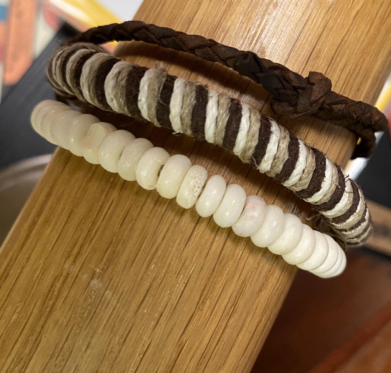Men's 3 Brown Cream Strand Leather Bracelet
