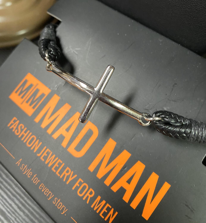 Men's Cross And Beaded Black Bracelet