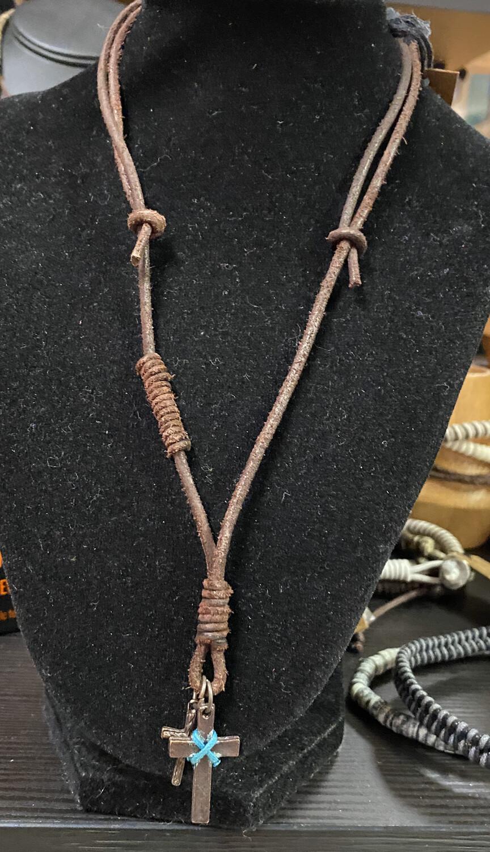 Men's Double Cross Necklace Suede